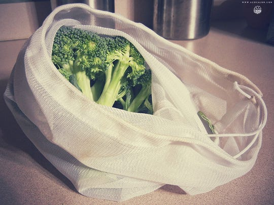 Avoid single use produce bags by bringing mesh bags to the grocery store.
