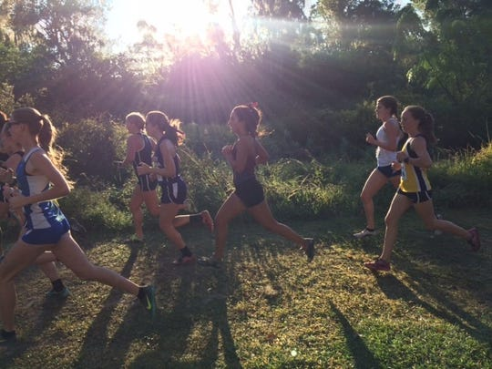 One of Marina DeBiasi's adjustments to college life was getting up early to run in the morning sun. Here, she competes for Florida Tech.