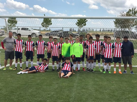 Tulare County's South Valley Chivas, wearing the white and red striped jersey, will travel to Sweden to play in a youth soccer tournament.