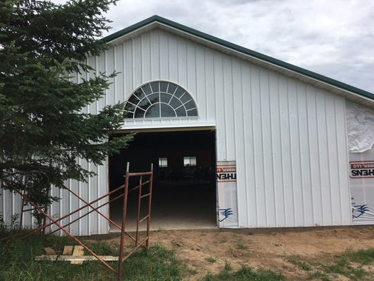 The beer hall being constructed for pizza nights at Stoney Acres Farm in rural Athens.