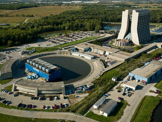 Aerial view of the U.S. Department of Energy's Fermi National Accelerator Laboratory near Chicago.