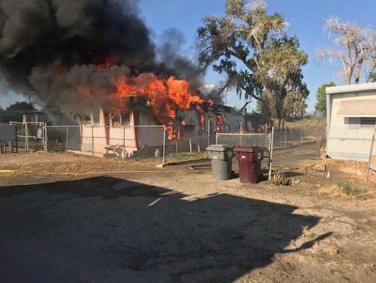 A mobile home was destroyed in a fire on Avenue 70 in Mecca. Firefighters saw the fire while battling the 40-acre Martinez Fire just a few miles away Monday afternoon.