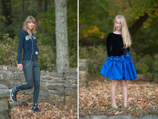 8-year-old Anna Grace Farner's expression as she sees Taylor Swift approaching a photo shoot she is having with her family and photographer Brooke Rainey at Percy Warner Park in Nashville on Sunday Nov. 2, 2014.