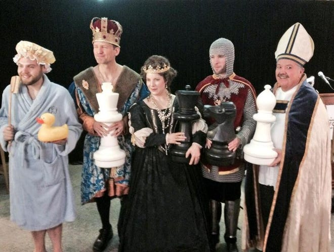 National Toy Hall of Fame inductees: The rubber duck and the game of chess. Here actors represent the toys.