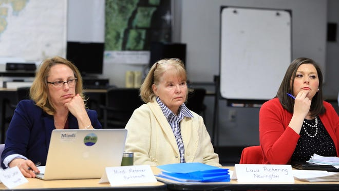 Pease Restoration Advisory Board members from left, Mindi Messmer, Lulu Pickering and Andrea Amico.