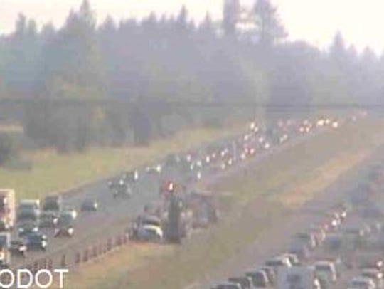 Stalled traffic near milepost 280 on Interstate 5.