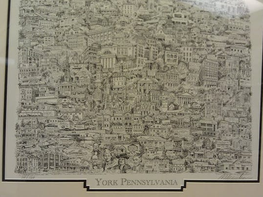 This view shows some of the businesses on the recently unveiled montage of York. Prints are available at local businesses.