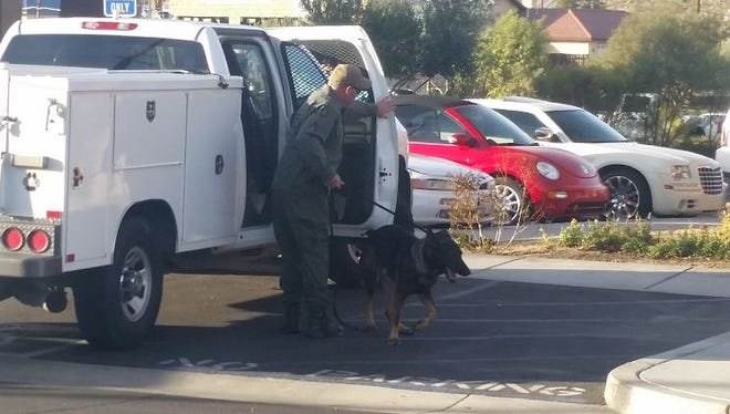 The Yucca Valley Applebee's was evacuated Wednesday after employees discovered two suspicious luggage bags.