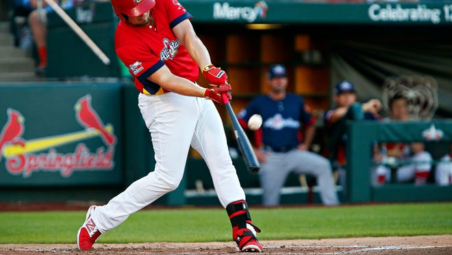 Springfield Cardinals first baseman Luke Voit (18) makes contact with a pitch during first inning action of the Texas League All-Star Game at Hammons Field in Springfield, Mo. on June 28, 2016.