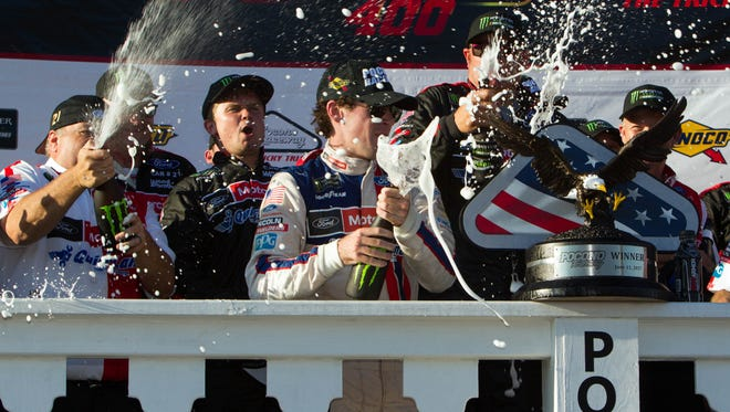 Ryan Blaney celebrates his first career trip to victory lane.