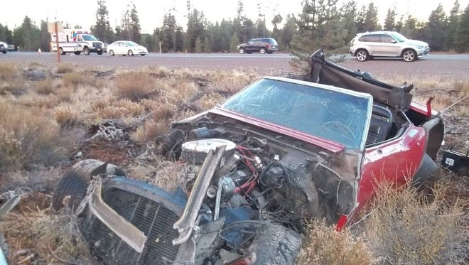 Rollover crash on Highway 97 near milepost 230, twenty miles north of Chiloquin.