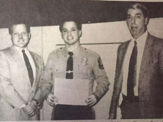 Boonton Township Patrolman Thomas Cacciabeve became the town's first DARE instructor  in 1991. From left to right, former Mayor Doug Cabana, Cacciabeve, and retired Police Chief Anthony Mini.