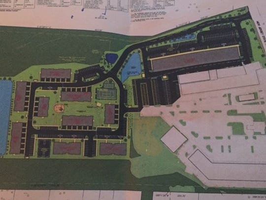 A drawing of The Woods at Toms River, a proposed 141-unit apartment complex that initially also included a 32,000-square-foot retail building, on Route 9. A revised plan - approved April 18 by the Planning Board - eliminated the retail building.