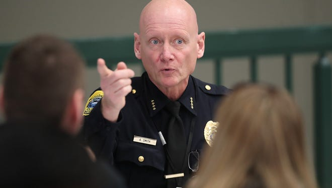 Green Bay Police Chief Andrew Smith speaks to those gathered for a school safety forum at Preble High School in Green Bay.