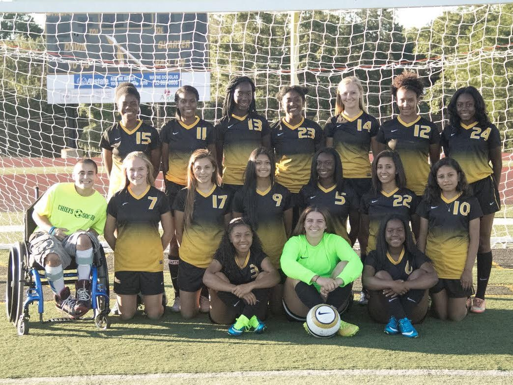 Team manager Anya Lopez (far left) has been instrumental in helping the Piscataway girls soccer team over the last couple of seasons.