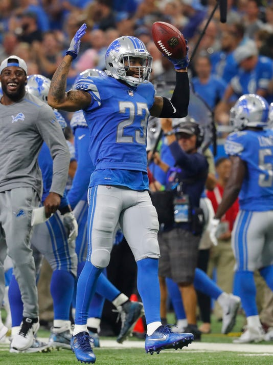 Detroit Lions cornerback Darius Slay (23) pumps up the crowd during the second half of an NFL football game against the Atlanta Falcons, Sunday, Sept. 24, 2017, in Detroit. (AP Photo/Paul Sancya)