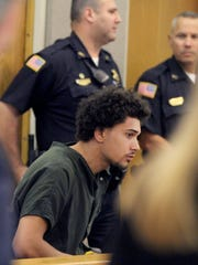 """Andreas Erazo, 18, is shown during his initial appearance in Freehold Friday, July 14, 2017, where he was charged with the murder of 11-year-old AbbieGail """"Abbie"""" Smith in Keansburg."""
