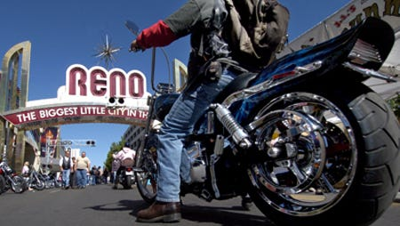 A Street Vibrations participant in downtown Reno.
