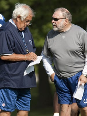 FILE -- Colts' senior offensive coordinator Tom Moore, left, and senior offensive line coach Howard Mudd, right.  August 3, 2009.