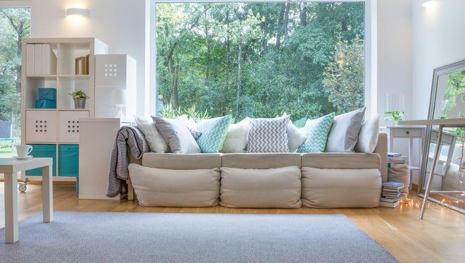 Image of spacious room with big sofa