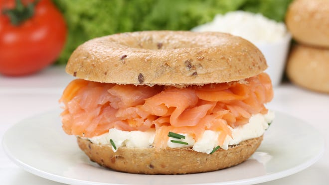 Start each day with a decent breakfast. A bagel with cream cheese and salmon is a great start.