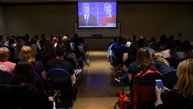Belmont University students gather to watch the first presidential debate of the election season at Belmont on Monday, Sept. 26, 2016.