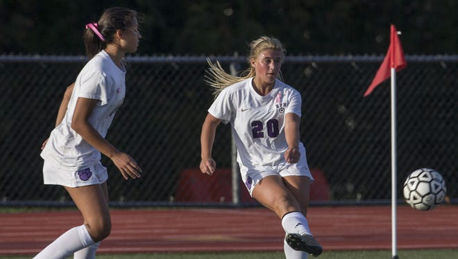 Rumson's Hannah Stavola takes a long shot and scores her team's second goal late in the game. Holmdel Girls Soccer vs Rumson Fair Haven in Rumson, NJ on October 11, 2016