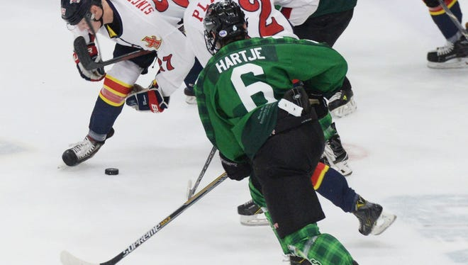 Mudbugs defenseman Jackson Hartje was a midseason acquisition. He is committed to play at Harvard.