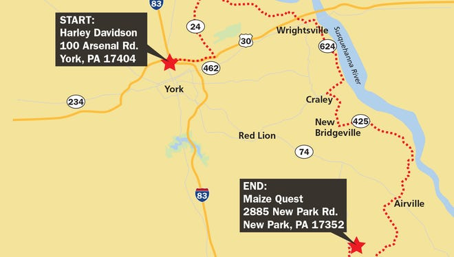 Here's a great ride for bikers visiting York County for Harley-Davidson's open house.