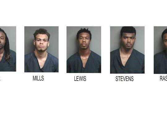 Suspects in the Mt. Clemens home invasion, from left: Chevas Antwayn Walker Jr., Joshua Lee Mills, Channor Dior Lewis, Jesse Alex-Ondre Stevens and Dwayne Cooper Rasberry Jr.
