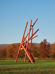 """Jambalaya"" by Mark Di Suvero, one of more than 100 outdoor sculptures at the unique art park set amid rolling hills and fields in the Hudson Valley, just north of New York City."