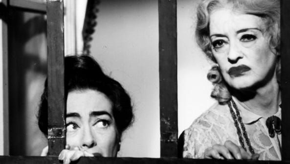 Joan Crawford, left, and Bette Davis in a scene from