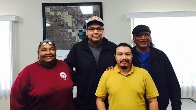 Red Crow founders Richard Tall Bear and Rick Hill with Torres Martinez tribal representatives  Mary Belardo and Joseph Mirelez. (PRNewsFoto/Red Crow LLC)