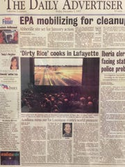 Director Pat Mire has a framed, front page of the Dec. 5, 1997 Daily Advertiser, which shows a photo from the film's premiere.