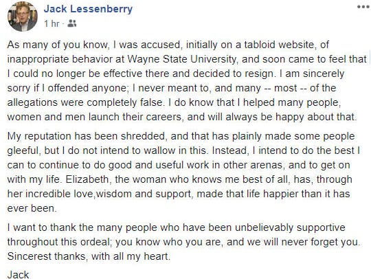 Jack Lessenberry responds on Facebook Saturday about