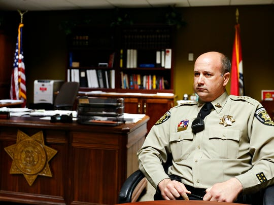 Christian County Sheriff Brad Cole talks to a News-Leader reporter in his office in Ozark, Mo. on March 1, 2017.