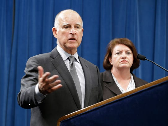 Calif., Gov. Jerry Brown answers a question concerning