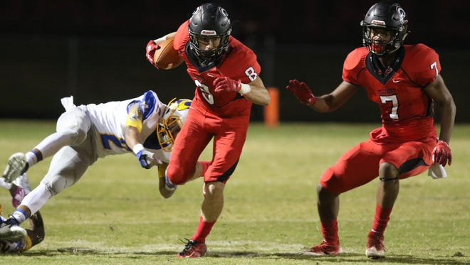 Senior wide receivers Trey Adkins (8), Steven Campbell (7) and the Hillcrest Rams will host Spartanburg in a Class AAAAA second-round playoff game Friday at Chandler Stadium.