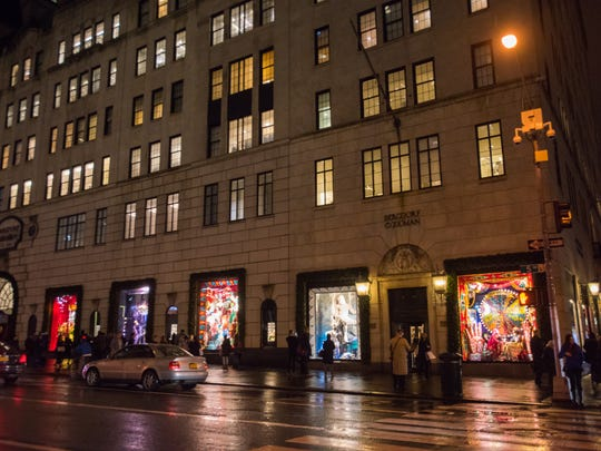 Bergdorf Goodman's holiday windows illluminate the street in 2015.