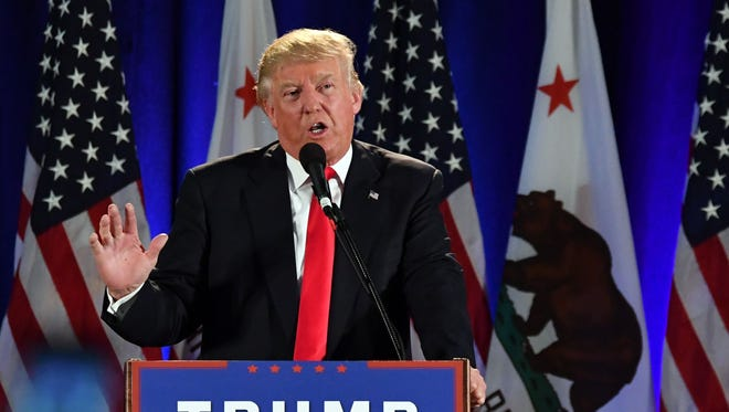 Then-presidential candidate Donald Trump addresses a rally in San Jose on June 2, 2016. It was the last time he stepped foot in California before next week's trip as president.