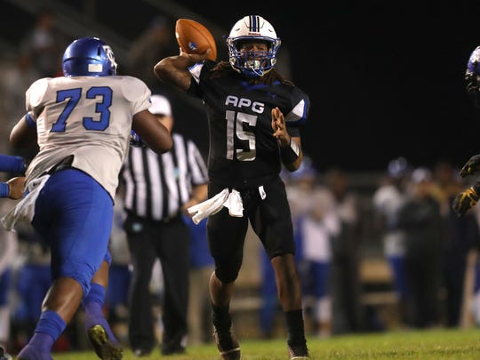Godby's Rasean Mckay throws the ball against Trinity Christian Academy during their Region 1-5A Semifinal game at Cox Stadium on Friday, Nov. 17, 2017.
