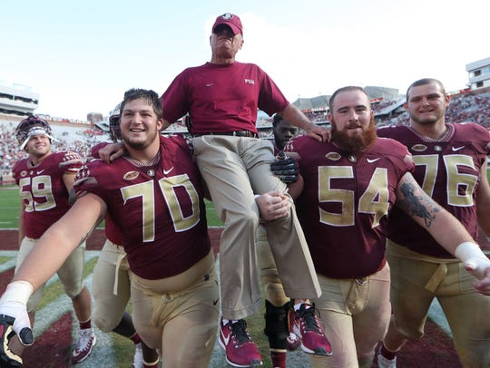 FSU's offensive line, including Cole Minshew (70) and