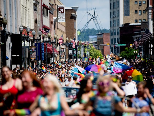 The annual Knoxville Pridefest Parade makes its way