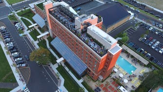 A drone shot of the Asbury Hotel.