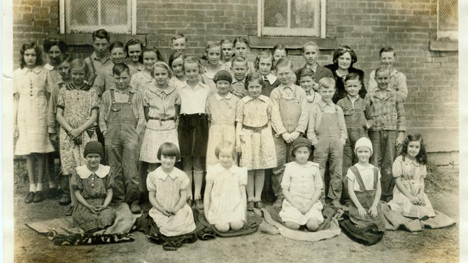 Anna Miller Forquer, front row, far right, was one of eight students in the first grade at the Harman School on Wheeling Road in the 1935-36 school year. It was her first year to attend, and the one-room school's last year to be open.