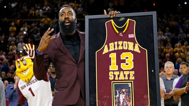 James Harden reacts during a ceremony honoring his ASU career on Feb. 18, 2015 in Tempe, Ariz.