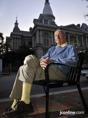Old Lafayette columnist Bob Kriebel outside the Tippecanoe County Courthouse, in Lafayette, on Tuesday, June 14, 2011.