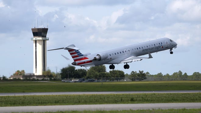 A plane takes off from the Tallahassee International Airport.