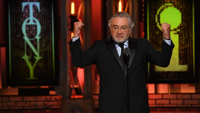 Robert De Niro delivers a speech partially censored from the broadcast during his introduction of a performance by Bruce Springsteen at the 72nd Tony Awards at Radio City Music Hall.