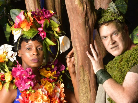 "Nashville Shakespeare Festival's Shakespeare in the Park 2018 features ""A Midsummer Night's Dream."" Pictured are Tamiko Robinson Steele (Titania) and Geoff Davin (Oberon)."